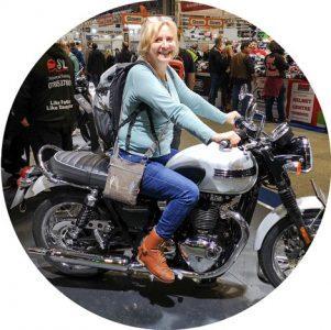 Susanne on her motorbike