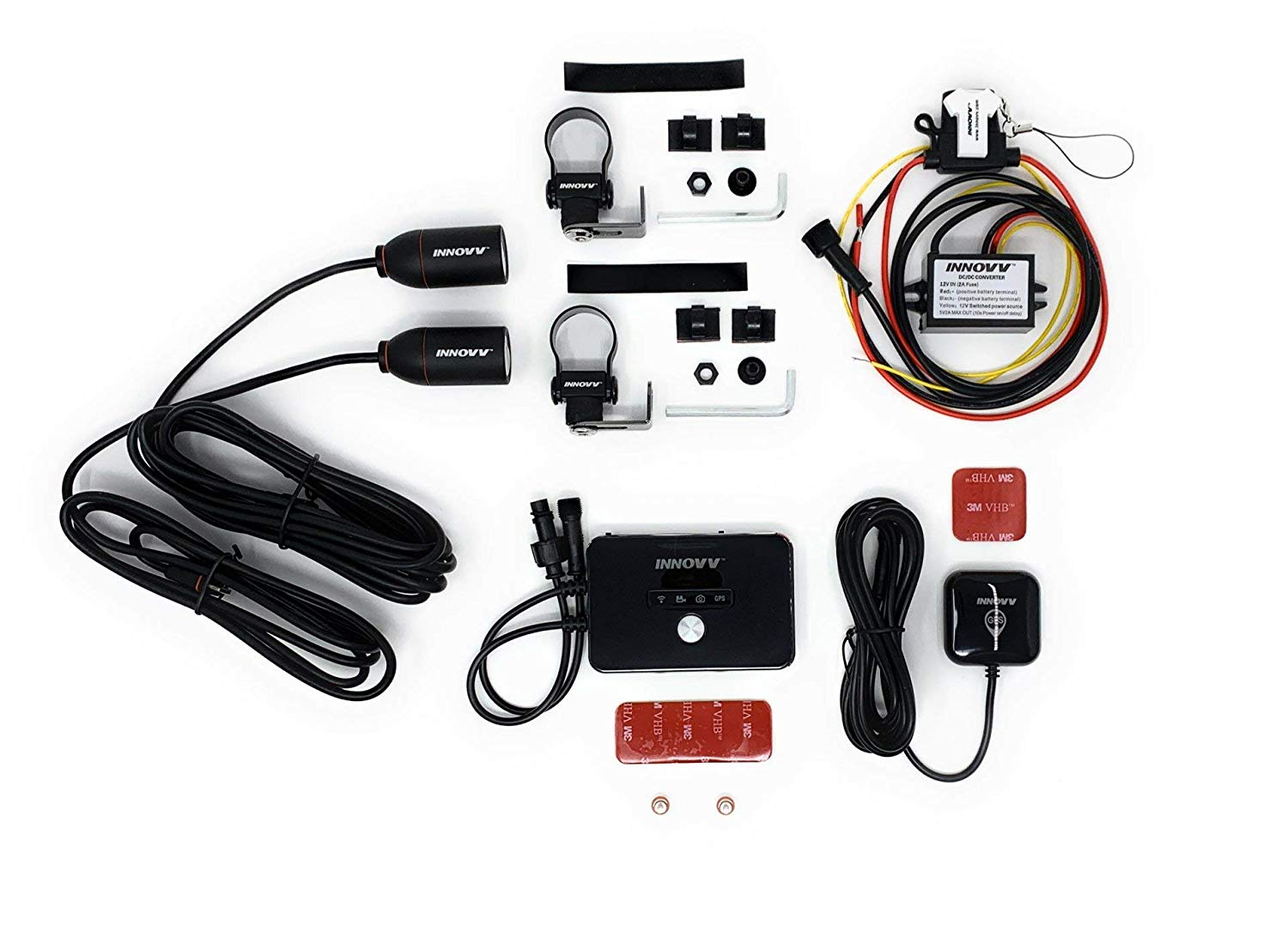 INNOVV K2 motorcycle dash camera package content