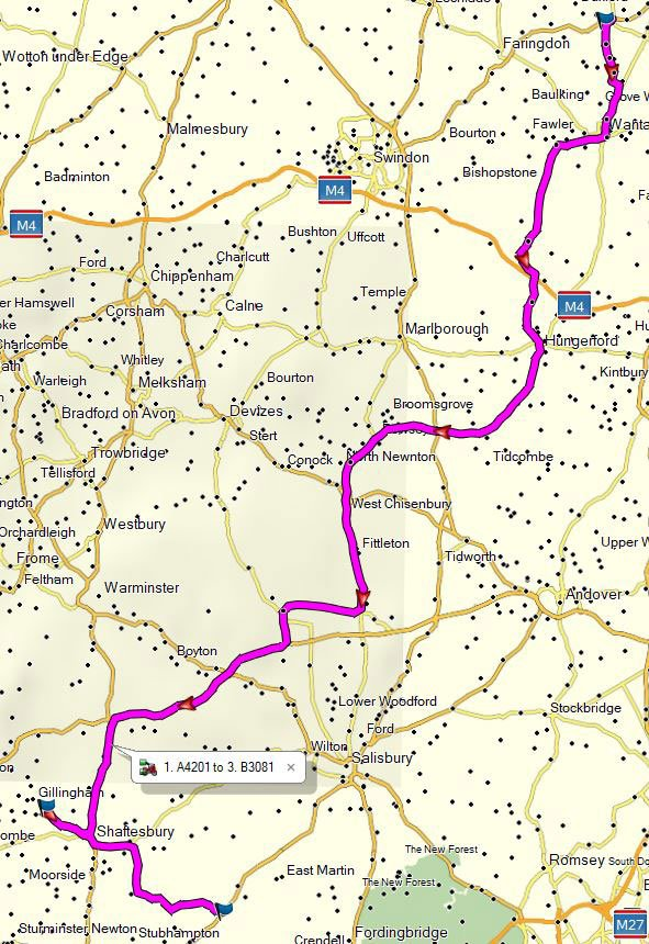 Route for a day out from Oxfordshire