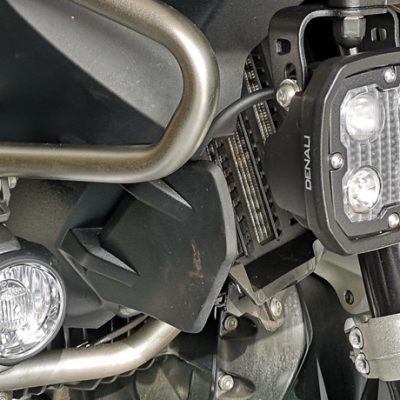 Auxiliary lights on a motorbike